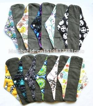 [Sigzagor] 1 LONG Panty Liner Reusable Washable CHARCOAL Bamboo Mama Cloth Pad, Menstrual Maternity Pad,10in/25cm,11 Designs